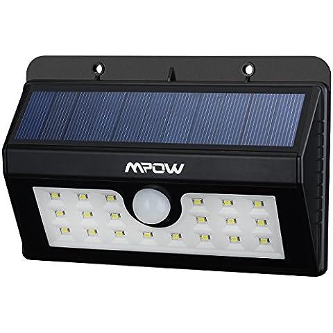 Mpow Foco Solar 20 LED Impermeable, 1500mAh Lámpara Luz con Sonsor de Movimiento para Jartín Casa Camino Escaleras Pared, IIluminación de Exterior y