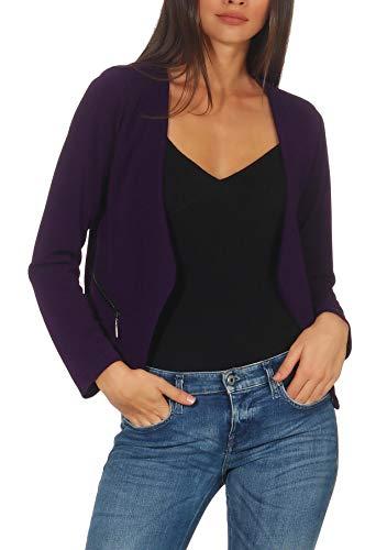 Malito Damen Blazer ohne Kragen | Sakko im Basic Look | Kurzjacke mit Zipper | Jacke - Jackett - Blouson 6040 (XL, lila)