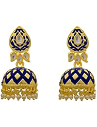 897448519 Rama Creations Fashionable Gold Plated Meenakari Fancy Party Wear Earring  For Women/girls (Blue Meena)…
