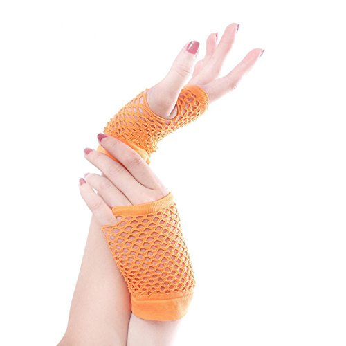 Saingace gloves Punk Goth Dame Disco Tanz Kostüm Spitze Fingerless Mesh Fischnetz Handschuhe (Orange) (Motor Racing Kostüm Für Kinder)