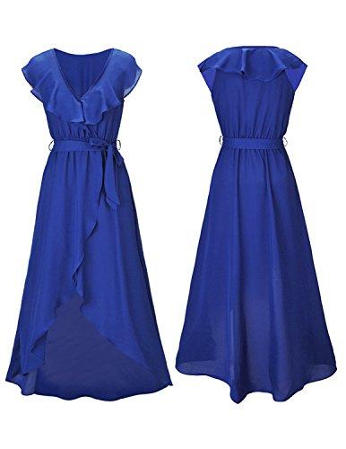 Sitengle Damen Abendkleid mit Volant Tiefer V-Ausschnitt Bunte Kleider Asymmetrisch Schlitz Maxikleider Sommerkleider Partykleider Cocktailkleid Blau