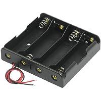 SODIAL(R) Negro 4 x 3.7V 18650 Baterias de punta puntiaguda Caja sostenedor de bateria con alambre cable