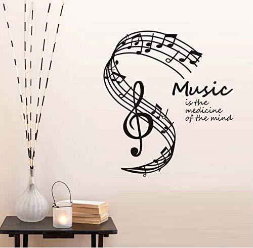 Xlei adesivi murali adesivo da parete musica is the medicine of the mind adesivi da parete note musicali stave home decor soggiorno musica note stickers murali hot58x65cm