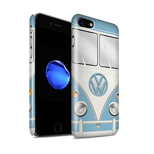 STUFF4 Glanz Snap-On Hülle / Case für Apple iPhone 8 / Fjord Blau Muster / Retro T1 Wohnmobil Bus Kollektion Fjord Blau