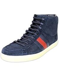 Gucci Marina de Guerra Ante Cuero Brb Web Detalle Hightop Sneakers 337221 (10.5 U.S. /
