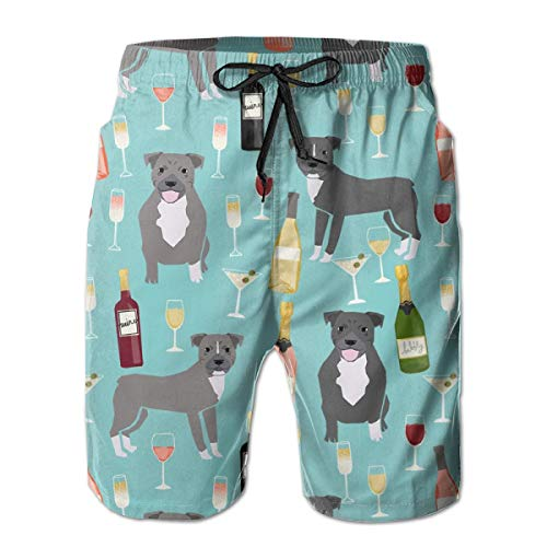 vintage cap Pitbull Grey Coat Wine Champagne Cocktails Dog Light Blue Men's Summer Beach Quick-Dry Surf Swim Trunks Boardshorts Cargo Pants XL -