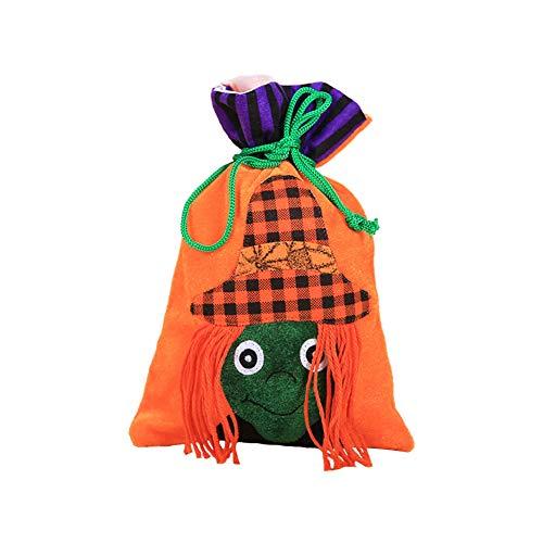 Zentto Halloween Tunnelzug Süßigkeiten Tasche, Nette Orange Hexe -