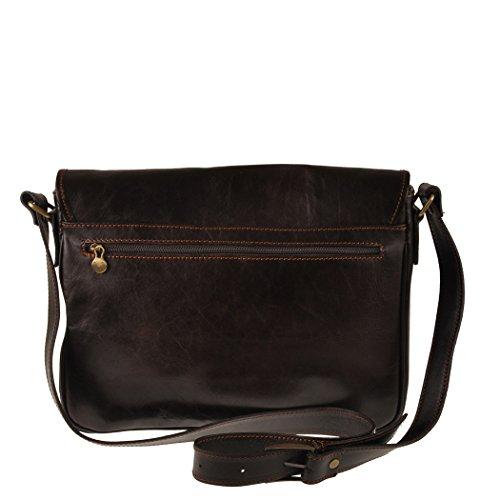 Pellevera Ravenne sac italienne messager de cuir. sac mortuaire croix (brun foncé) ZHsxyU4PpJ