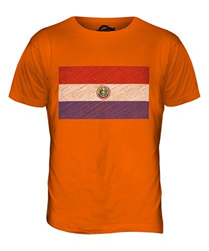 CandyMix Paraguay Kritzelte Flagge Herren T Shirt Orange