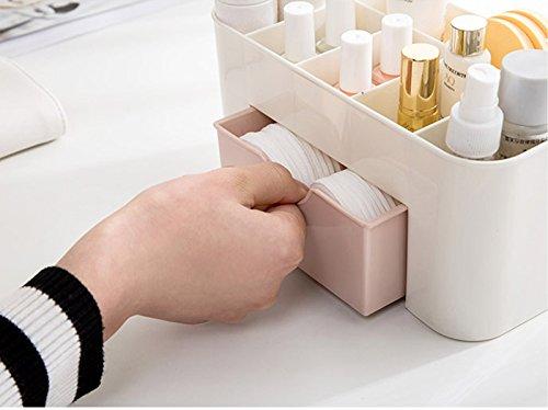 TQWMU Plastic Desktop Makeup Box Set Professional Saving Space Desktop Comestics Makeup Storage Drawer Type Box Cosmetic Organizer