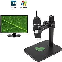 Cámara microscópica digital de 1000 x y 2 megapíxeles para Windows XP, Vista, Win7, Win8, 32 y 64 bits, con 8 luces LED integradas