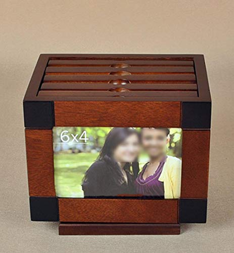 MYYDD Holz Fotoalbum Box 6 Zoll Fotoalbum Foto Massivholz Kreative Foto Hochzeit Einfügen Foto Box Foto Dünne Album DIY Aufbewahrungsbox,Rotatingalbumbox