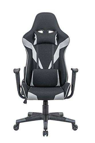 Meubletmoi Fauteuil de Bureau Gaming Noir Gris - Chaise réglable Ergonomique Confortable - Coussins Amovibles - Design baquet Professionnel - Player Pro