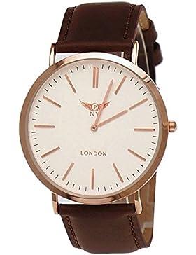 NY London designer Slim Unisex Damen Herren Leder Armband Uhr Braun Weiß Rose Gold super flach inkl.Uhrenbox