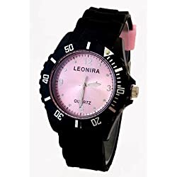 Nerd® Leonira Uhr in Schwarz/Rosa BU295