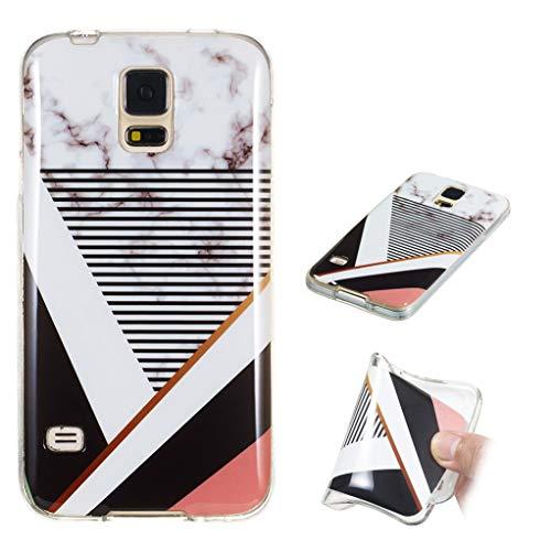 Yunbaozi Marmor Hülle für Samsung Galaxy S5 Schlank Weich Gummi Case Stoßstange Löschen Matte Drucken Natürliche Textur Anti-Scratch Shock Geometrische Muster, Streifen-Spleißen