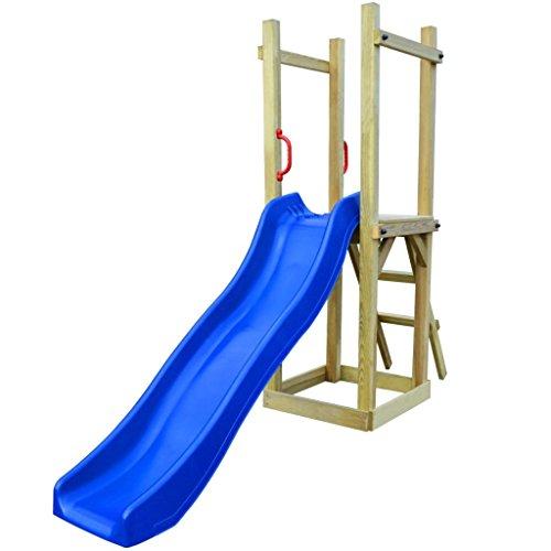 Vislone Spielturm Kletterturm Kinder Garten Spielplatz Holzturm mit Rutsche und Leiter Kiefernholz 237 x 60 x 175 cm