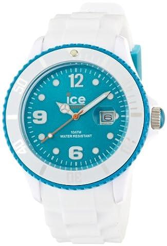 ICE-Watch - Montre Mixte - Quartz Analogique - Ice-White - White - turquoise - Big - Cadran Turquoise - Bracelet Silicone Blanc - SI.WT.B.S.11