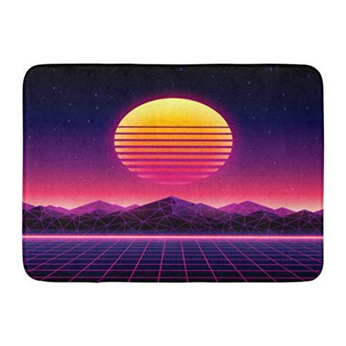 Fußmatten Bad Teppiche Outdoor / Indoor Fußmatte Retro futuristische 1980er Jahre digitale Landschaft in Cyber   World Wave Musik Album Sun Space Mountains und Laser Badezimmer Dekor Teppich Badematte