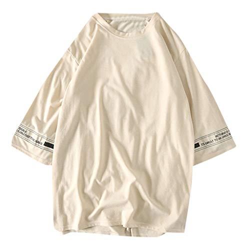 mmer Gezeitenmann T-Shirt Rundhals-Ausschnitt Slim Fit Moderner Männer Mode wild T-Shirt Crew Neck Sweatshirt Kurzarm Freizeit locker Shirt ()