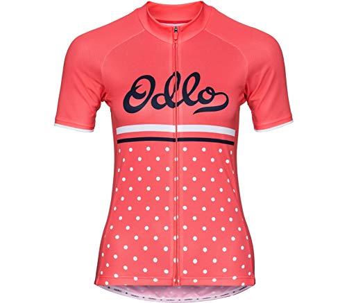Odlo Stand Collar S/S Full Zip Fujin Print Shirt, Damen M Dubarry/Retro Full Zip Stand