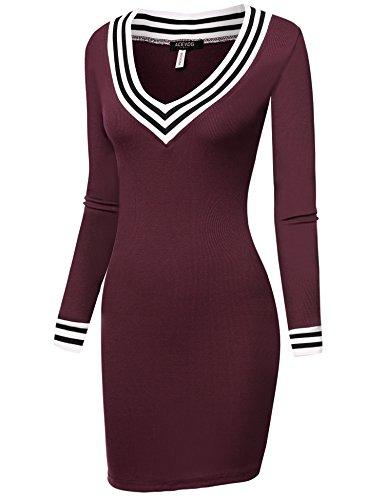 ZEARO Femmes Nouvelle Sexy Manches Longues Pull Chandail Moulante Tricoter Mini Robe Tunique Asymetrique S-XXL Vin Rouge