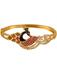 322d22fb415 Swasti Jewels Gold Plated CZ Peacock Bracelet Kada for Girls and Women