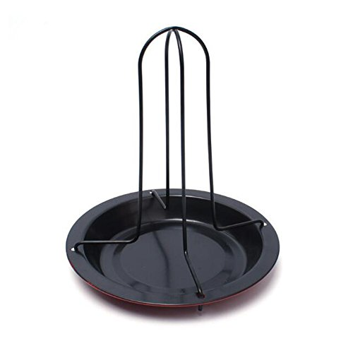 Uctop Store en acier carbone à poulet anti-adhésif Rack vertical support pour poulet BBQ Poulet à rôtir avec support pour fumoir Grill ou four profond avec Drip Pan Passe au lave-vaisselle barbecue griller cuisson casseroles barbecue Accessoires Outil