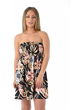 Moda 4Menos Nuevo Mujer Plus Tamaño Impreso Bandeau Sheering boobtube Top. UK 8–26