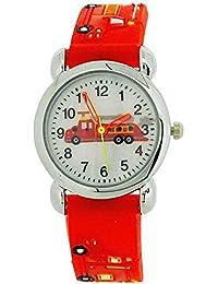 Relda Childrens Jungenuhr, Feuerwehrauto rotes Silikonarmband REL44