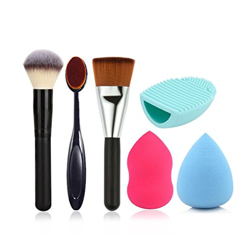 Blender Pro Reiniger Beauty (JasCherry Pro 3 Stück Make Up Pinselset + 2 Schwamm Puff + 1 Silikon Pinsel Reiniger - Professionellen Kosmetik Schmink-pinselset für Foundation Concealer Lidschatten etc.)
