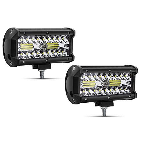 Safego 7' 120W Faro da Lavoro Luce Barra 9600LM Faretto a LED Impermeabile IP67 Fendinebbia Luci per Off Road Auto SUV ATV Camion Barca Mining Spotlight 12V 24V, 1 anno di Garanzia, 2 pezz
