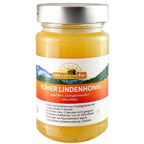 Roher Linden-Honig von ImkerPur, ungefiltert, nicht geschleudert oder erhitzt, enthält Blütenpollen, Bienenwachs, Propolis, Bienenbrot und Gelee Royal (300 g Roher Lindenhonig) -