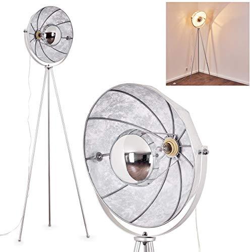Lampadaire Machaila en métal argenté - Lampe sur pied pour chambre à coucher - salon - bureau - Le spot pivote, avec un interrupteur sur le câble