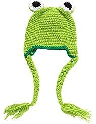 Bigood Bebé Gorrita Fotográfica Para Niños 0~3 Meses de Punto Crochet Rana Verde