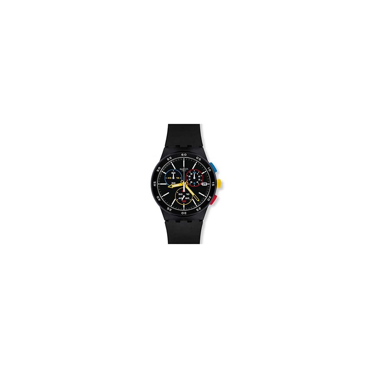 41xnBvWVz0L. SS1200  - Swatch Reloj Cronógrafo para Hombre de Cuarzo con Correa en Silicona SUSB416