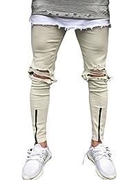 Hombre Pantalones Tapered Para Vaqueros Rotos Skinny Jeans Con Cremallera