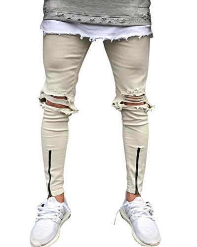 Homme Simple Destroy Skinny Jean Biker Denim Serré Pantalon Slim Gris Blanc 34
