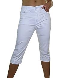 ICE (1511-2) Pantacourt en Jeans Extensible Brillant à Revers Blanc