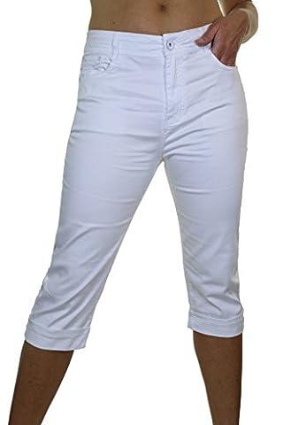 ICE (1511-2) Pantacourt en Jeans Extensible Brillant à Revers Blanc (48)