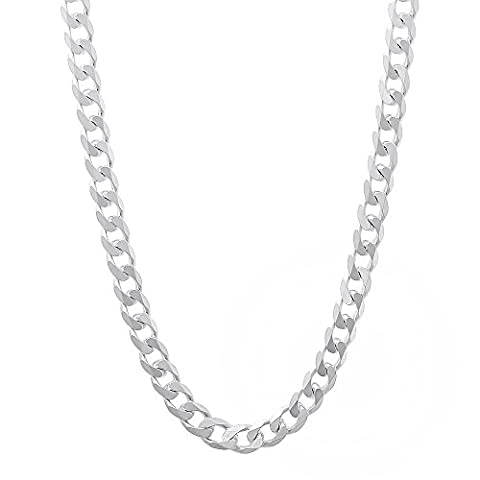 3.5mm Solid 925 Sterling Silver Beveled Cuban Curb Link Italian