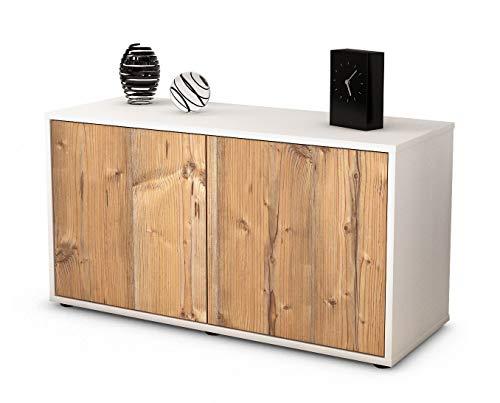Stil.Zeit Möbel TV Schrank Lowboard ADA, Korpus in Weiss Matt/Front im Holz Design Pinie (92x49x35cm), mit Push to Open Technik, Made in Germany