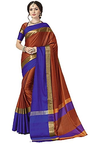 Indian Beauty Women's with Blouse Piece Art Silk Saree (Blue N_Brown_Free Size)