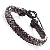 Trendy tressé Brown Pu Bracelet en cuir Cuff Bracelet pour hommes et femmes, unisexe...