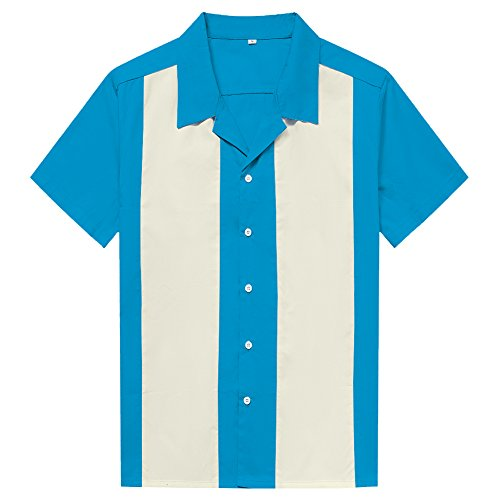 Candow Look Mens Short Sleeve Contrast Colour Button Down Shirts