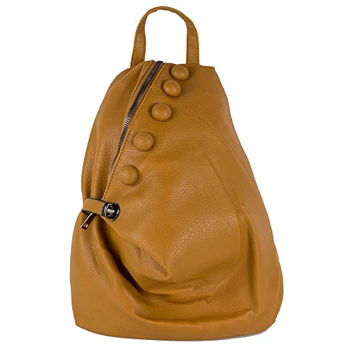 Zaino giallo con borchie da donna zainetto ragazza borsa sacco da uomo moto passeggio giornaliero vintage ecopelle con capiente grande scuola università tempo libero Giallo