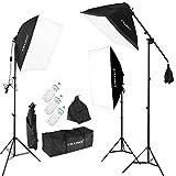 CRAPHY Kit Éclairage Photo Studio, Softbox Kit 3x135w avec 3 Ampoules 135W, 3 softbox, 3x2m Trépied, 1 Sac pour Ampoule et 1 Sac de Transport Tous Le kit softbox