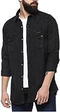 Urbano Fashion Men's Black Denim Solid Casual Shirt