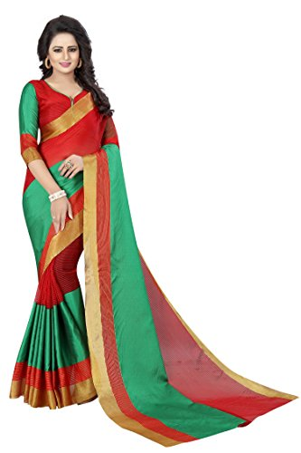 Perfectblue Cotton Silk Saree With Blouse Piece (Redcva9I_Red_Free Size)