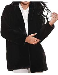 Hishoes Mujer Abrigo de Piel sintética Elegante Abrigos Chaquetas de Pelo Sintético de Manga Larga Cárdigan